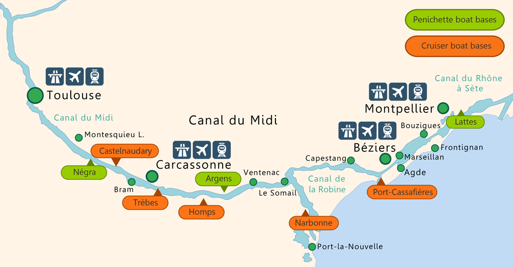 Canal Du Midi Boating Map