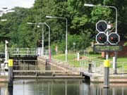 Red lights controlling the lock entrance
