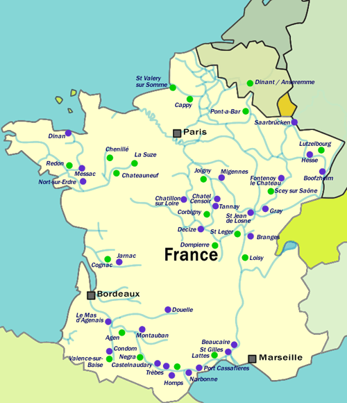 France Boat Hire Map