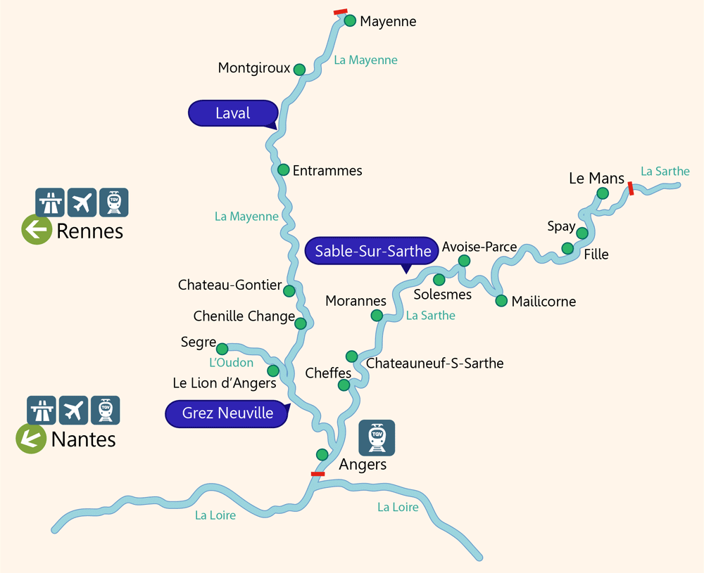 Neuville Sur Sarthe Le Mans boat hire on rivers and canals in anjou | boating holidays