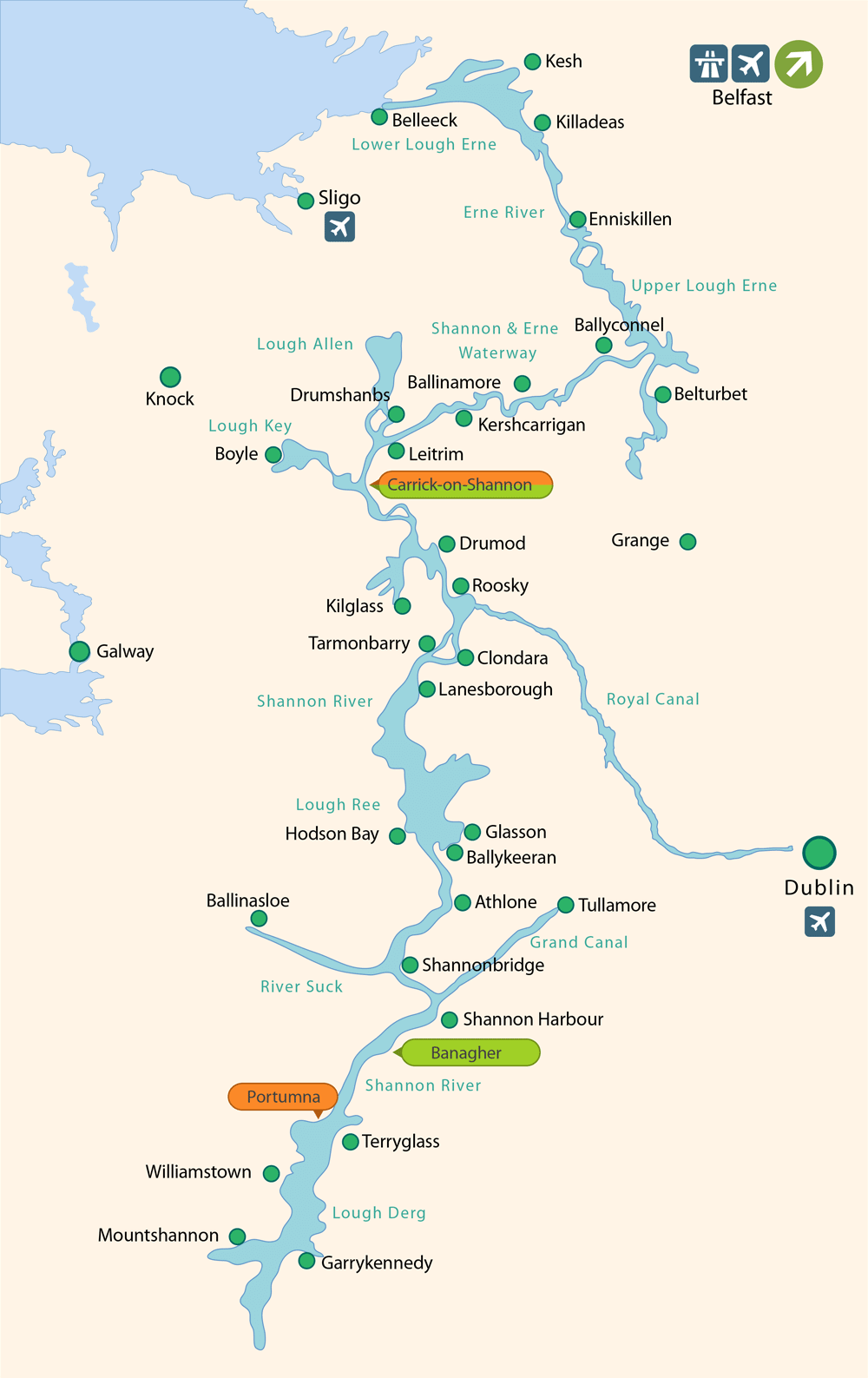 Map Of Ireland With Rivers.Boat Hire On Ireland Rivers And Canals Boating Holidays